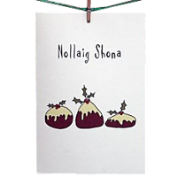 6 Christmas Cards: Merry Christmas (Christmas Puddings)